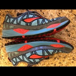 Brooks trail running/hiking athletic shoes.